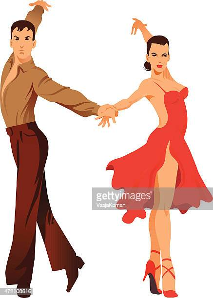 latin dancing - couple of dancers - samba stock illustrations