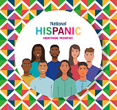 latin women and men cartoons of national hispanic heritage month vector design