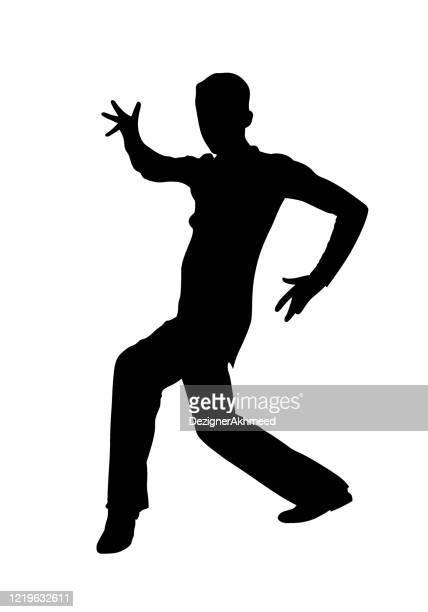 ilustraciones, imágenes clip art, dibujos animados e iconos de stock de bailarina masculina latina realiza silueta pasodoble - bailar un vals