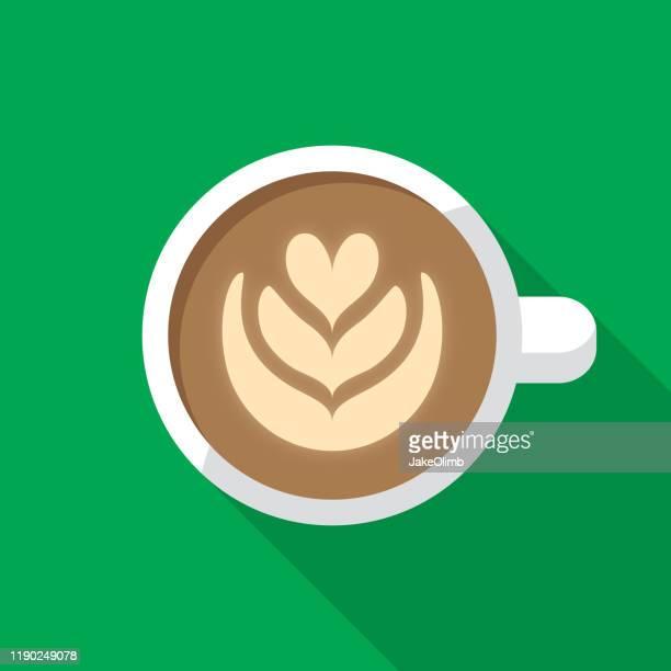 latte icon flat - steam stock illustrations