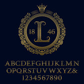 Lattice patterned gold letters and numbers with initial monogram