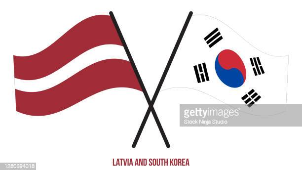 latvia south korea flags crossed waving