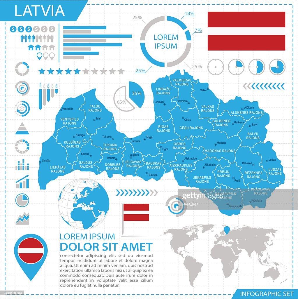 Latvia - infographic map - Illustration