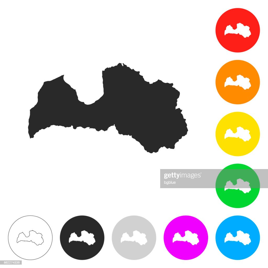 Latvia map - Flat icons on different color buttons