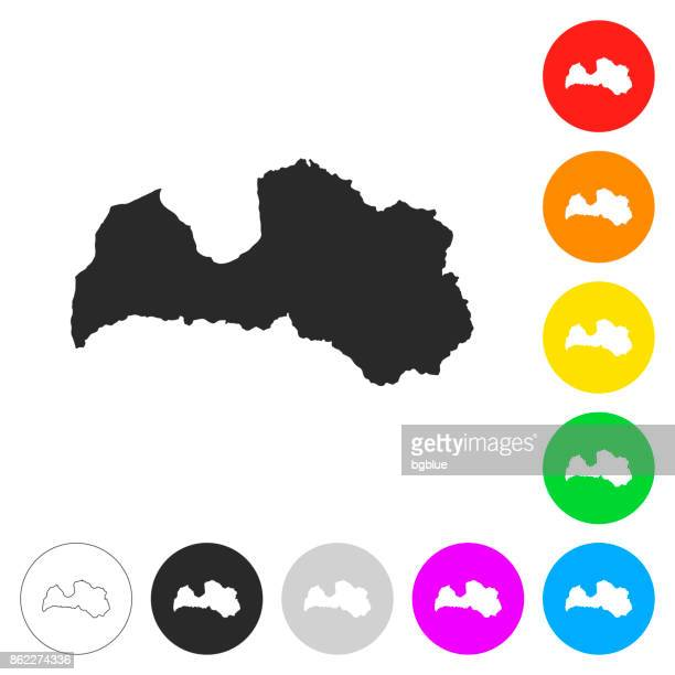 latvia map - flat icons on different color buttons - latvia stock illustrations