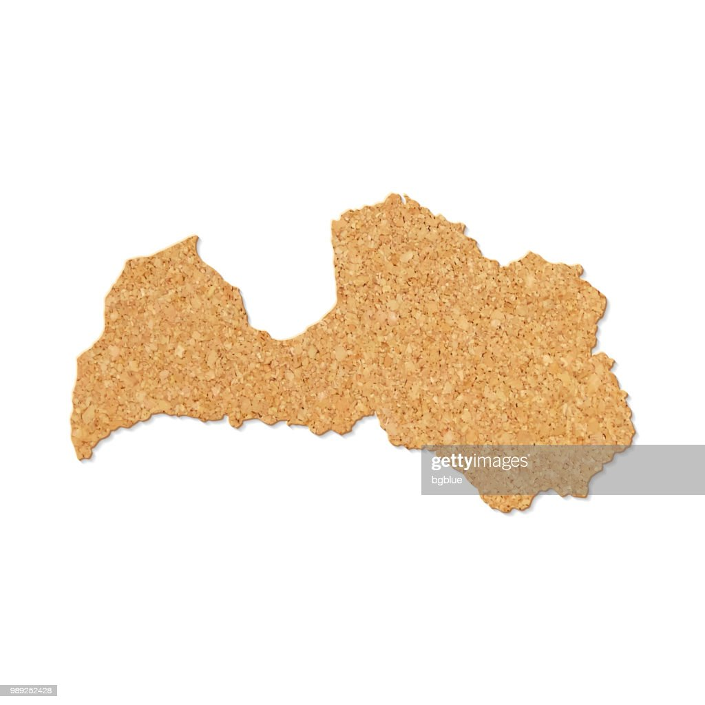 Lettlandmap Im Korktischstruktur Auf Weissem Hintergrund
