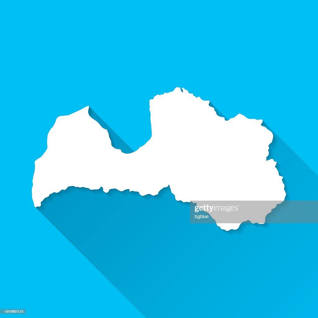 Latvia Map on Blue Background, Long Shadow, Flat Design