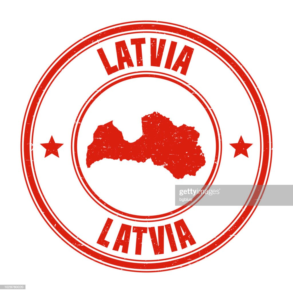 Latvia - Red grunge rubber stamp with name and map
