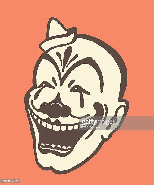 illustrations, cliparts, dessins animés et icônes de rire chauve-clown - clown