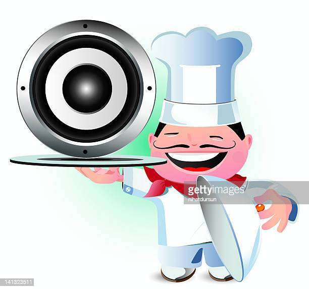 Laughing chef serving up a speaker