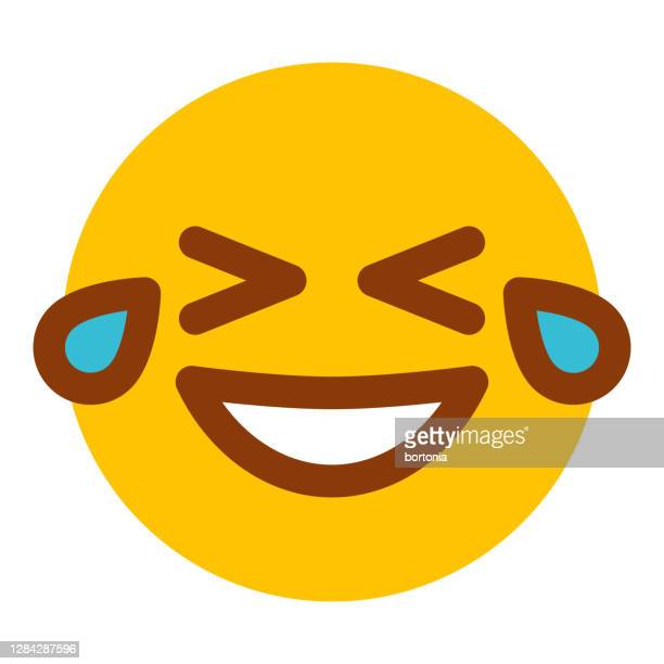 laughing emoticon icon on transparent background - laughing stock illustrations