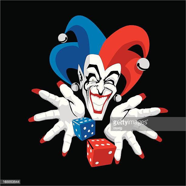 laughing gambler - jester stock illustrations, clip art, cartoons, & icons