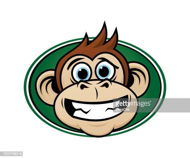 laughing monkey head cartoon mascot - chimpanzee teeth stock illustrations