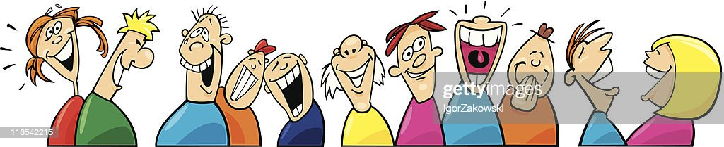 Laughing people in multicolored shirts