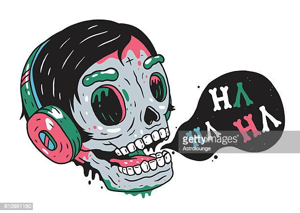 laughing skull - laughing stock illustrations, clip art, cartoons, & icons