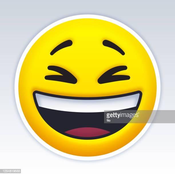 laughing smiling emoji face - laughing stock illustrations