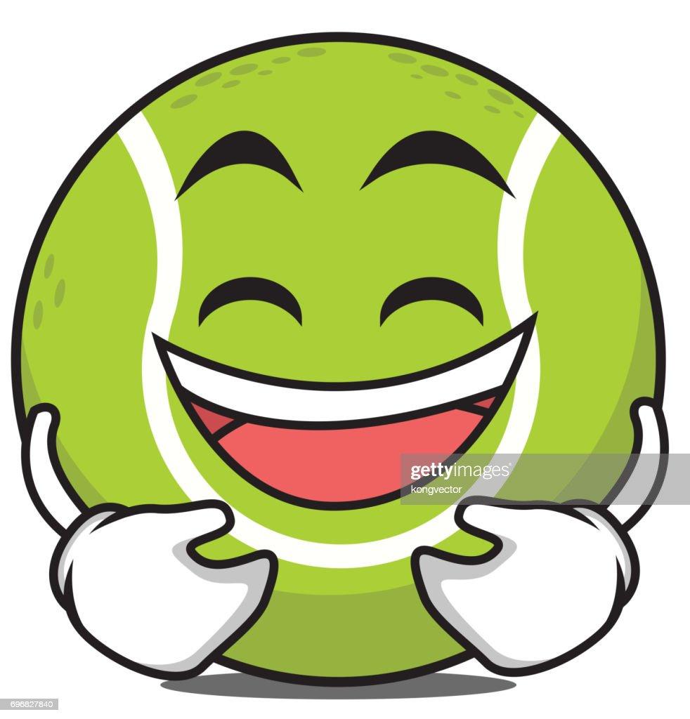 Laughing tennis ball cartoon character vector illustration