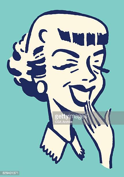 laughing woman with hand to mouth - laughing stock illustrations, clip art, cartoons, & icons