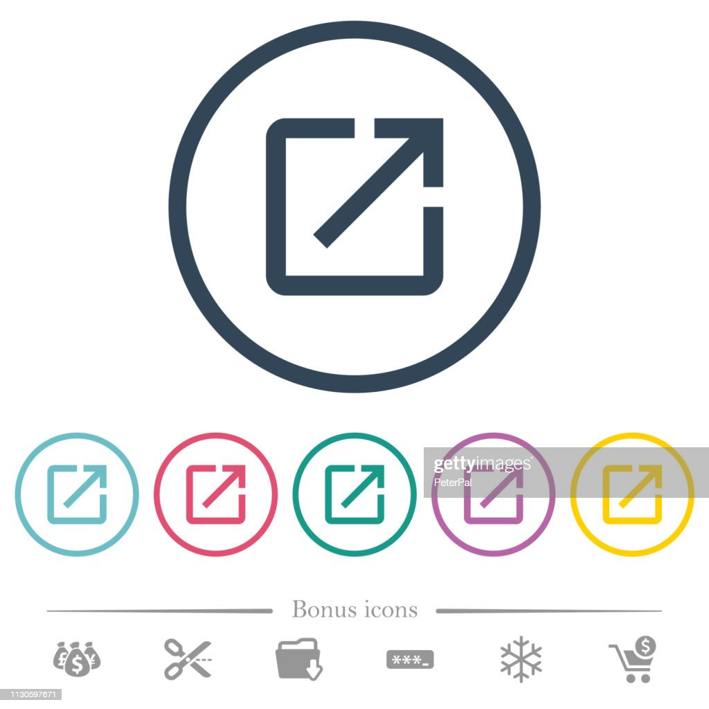 Launch application flat color icons in round outlines