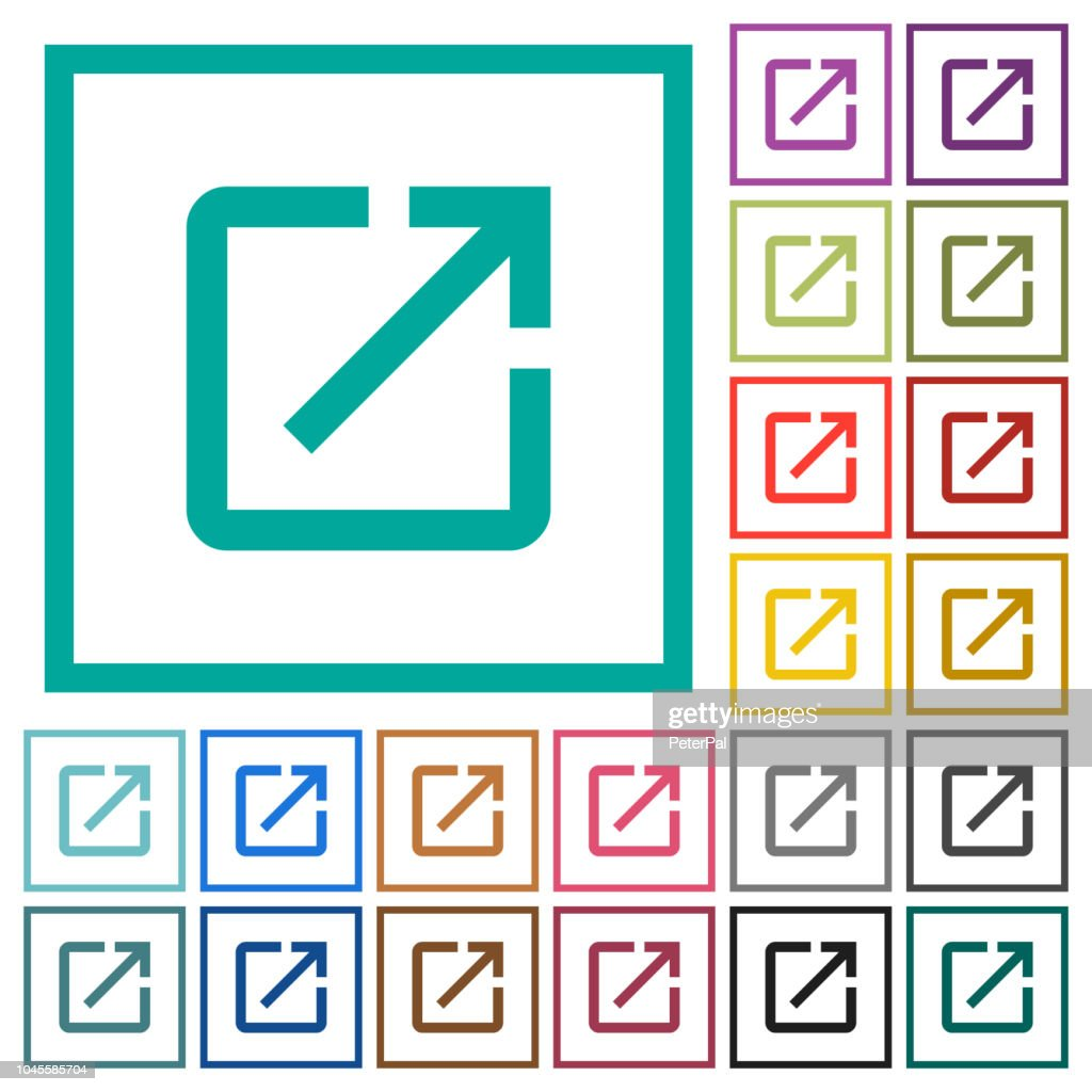 Launch application flat color icons with quadrant frames