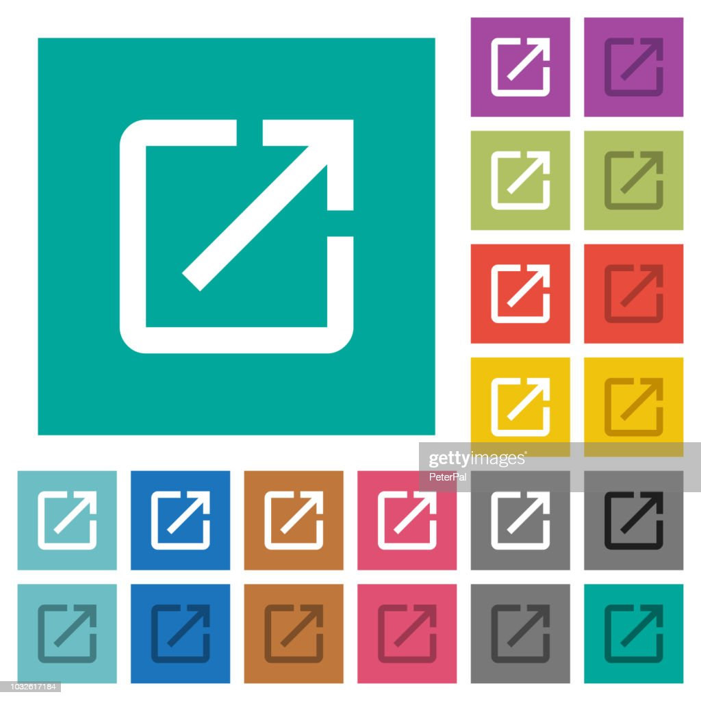 Launch application square flat multi colored icons