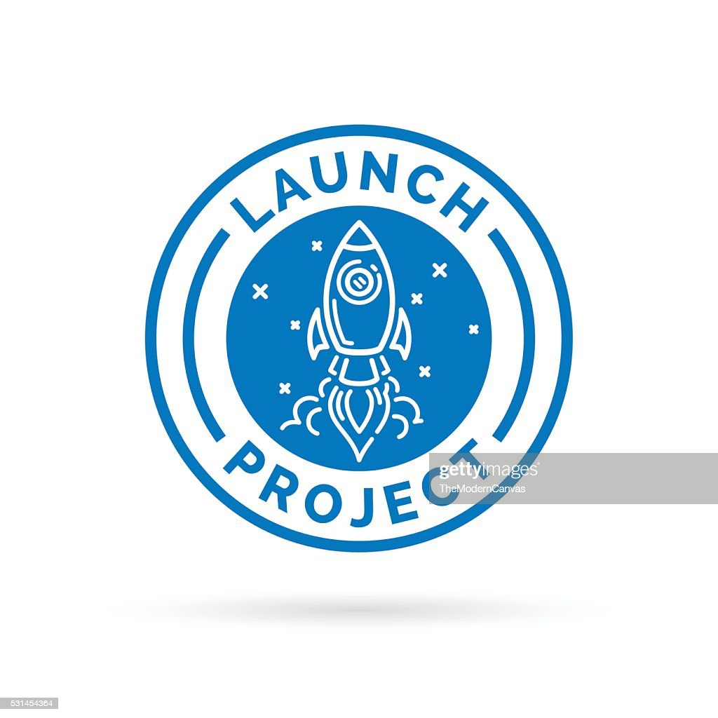 Launch new start up project icon with space rocket symbol.