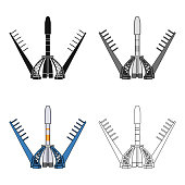 Launch of the spaceship. Space technology single icon in cartoon style vector symbol stock illustration web.