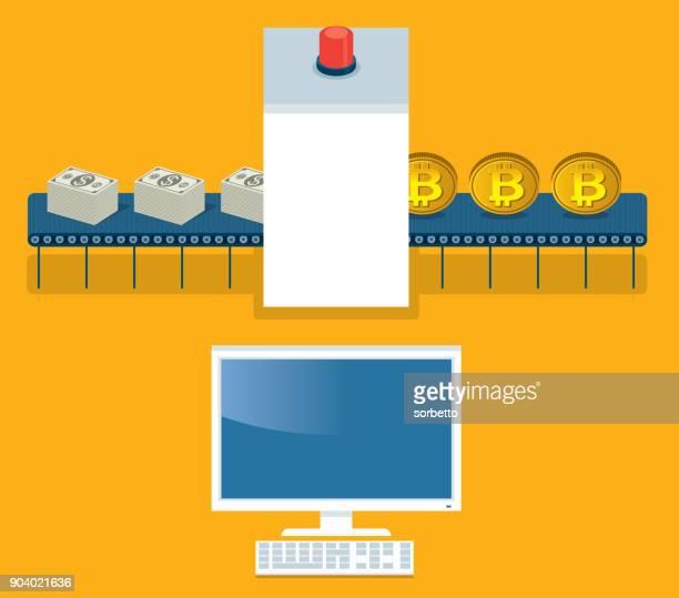 bitcoin - セキュリティ システムの洗浄 - レントゲン撮影装置点のイラスト素材/クリップアート素材/マンガ素材/アイコン素材
