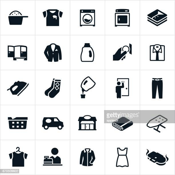 laundromat and dry cleaning icons - iron appliance stock illustrations, clip art, cartoons, & icons