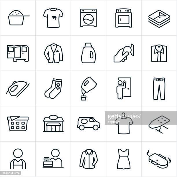 laundromat and drycleaning icons - dry cleaner stock illustrations