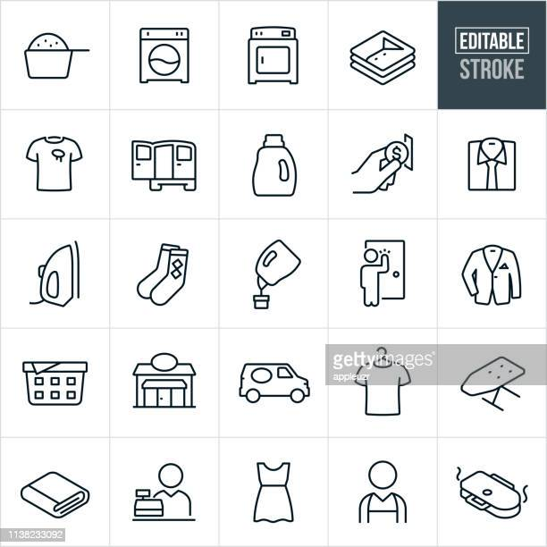 laundromat thin line icons - editable stroke - folded stock illustrations