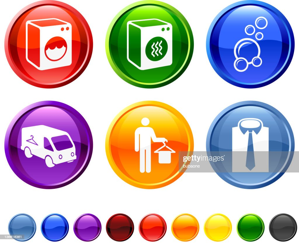 laundry and dry cleaning royalty free vector icon set