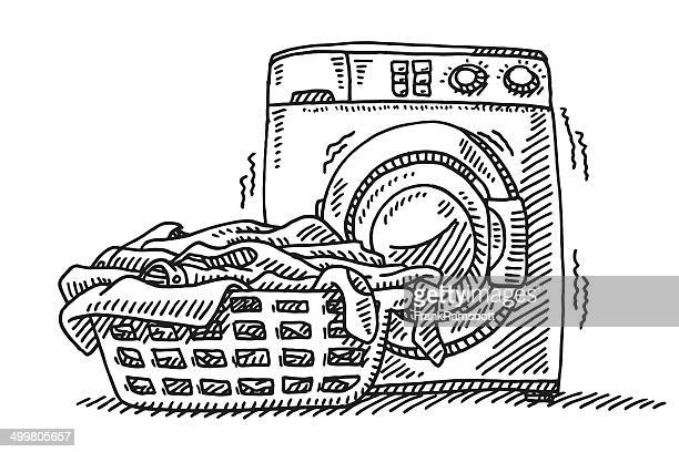 Laundry Basket Washing Machine Drawing