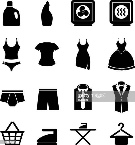 illustrazioni stock, clip art, cartoni animati e icone di tendenza di lavanderia & bianco e nero icona set vettoriale royalty-free - mutandine