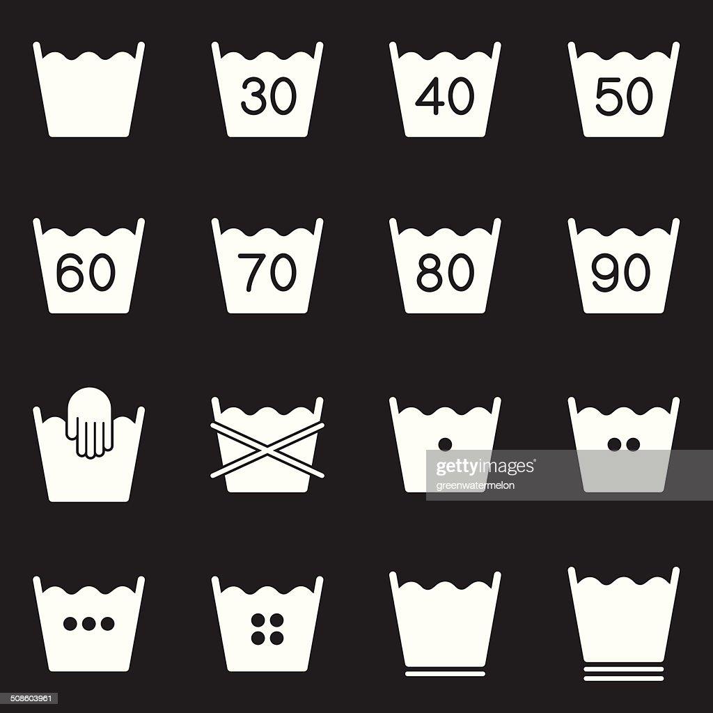 Conjunto de símbolos de cuidados da roupa 1/série branca : Arte vetorial