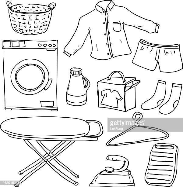 Service de blanchisserie en noir et blanc