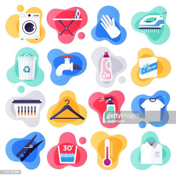 laundry detergent & household cleaners flat flow style vector icon set - laundry stock illustrations