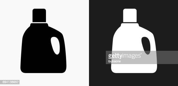 laundry detergent icon on black and white vector backgrounds - cleaning equipment stock illustrations, clip art, cartoons, & icons