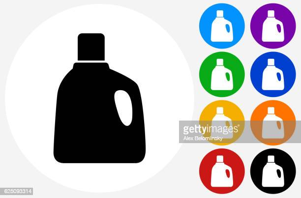 laundry detergent icon on flat color circle buttons - laundry detergent stock illustrations, clip art, cartoons, & icons