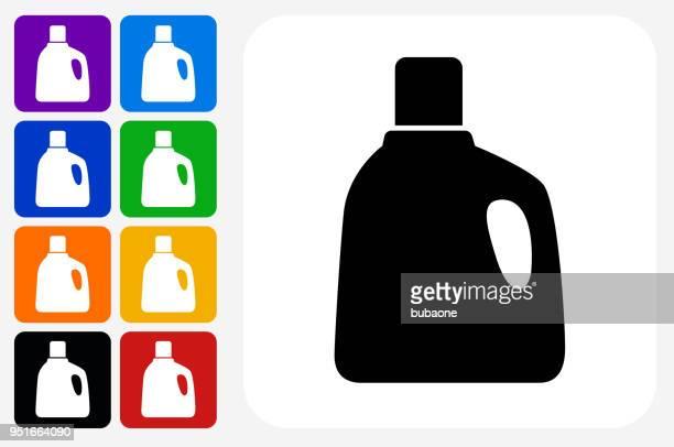 laundry detergent icon square button set - laundry detergent stock illustrations, clip art, cartoons, & icons