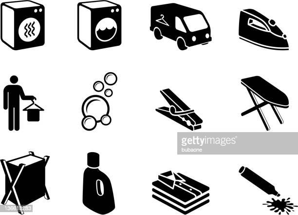 Laundry & dry cleaning black and white vector icon set