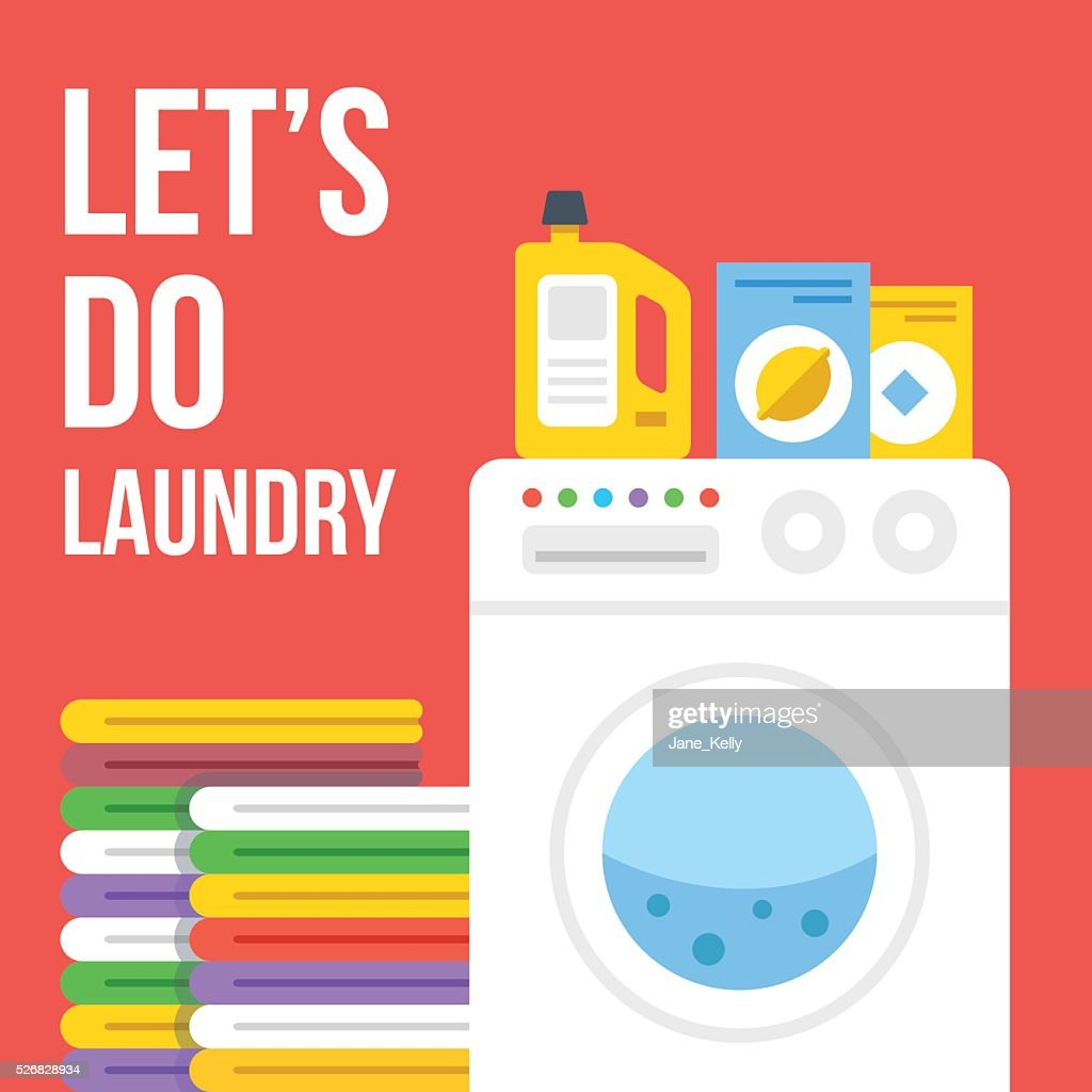 Laundry flat illustration. Washing machine, clothes, laundry detergent icons set