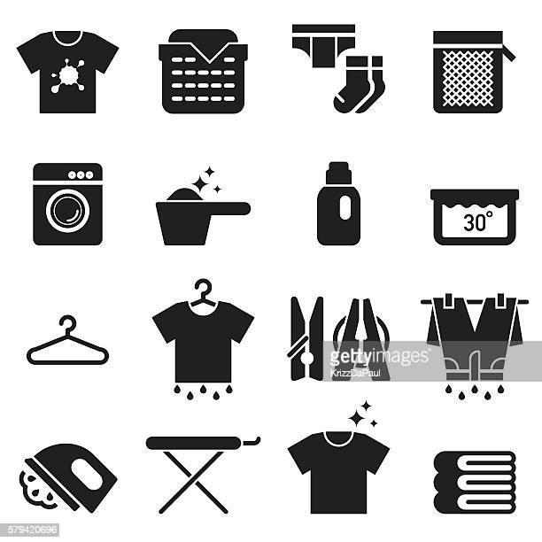 ランドリーアイコン [ブラックエディション] - シャツ点のイラスト素材/クリップアート素材/マンガ素材/アイコン素材