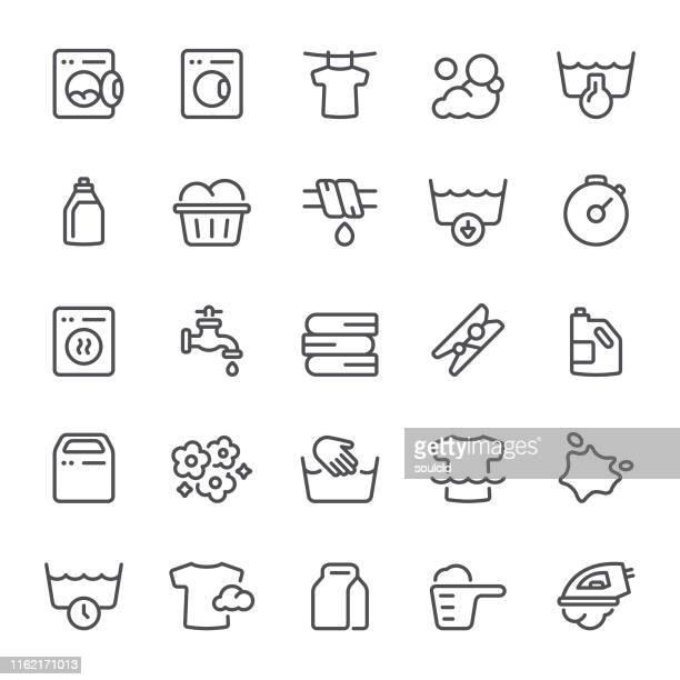 ilustraciones, imágenes clip art, dibujos animados e iconos de stock de iconos de lavandería - al vapor