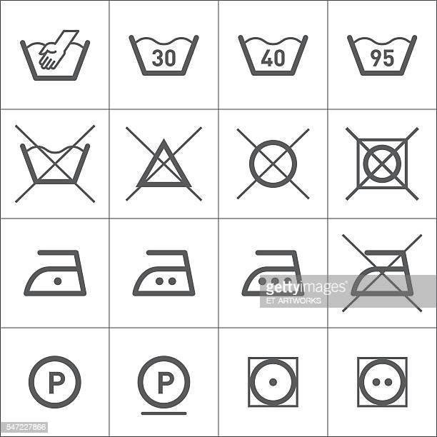 ilustrações, clipart, desenhos animados e ícones de ícones de lavanderia - instruções
