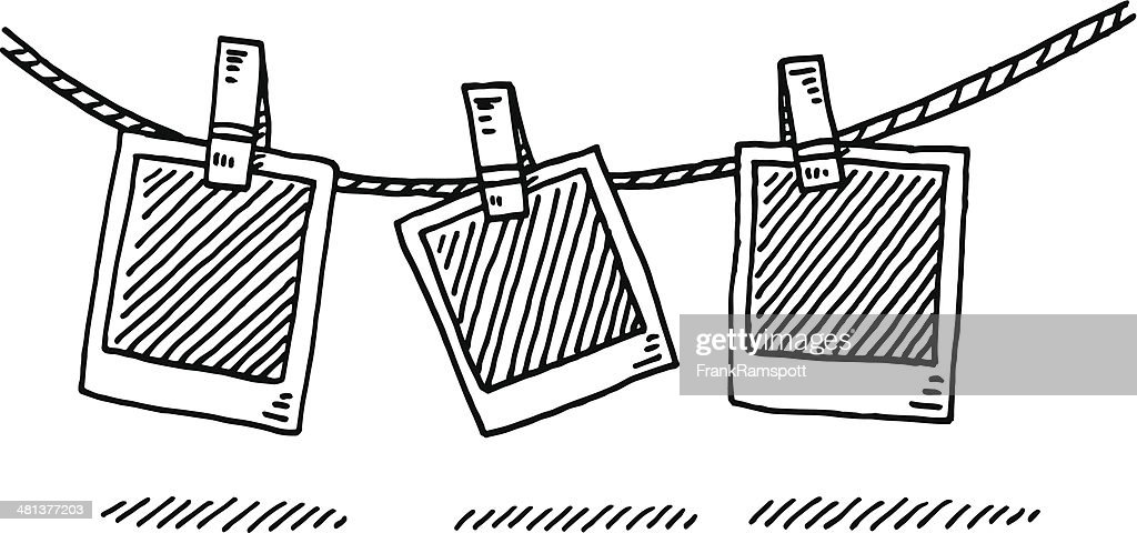 Laundry Line Blank Photographs Drawing : stock illustration
