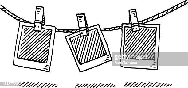 Linha de Roupa Suja fotografias em branco desenho