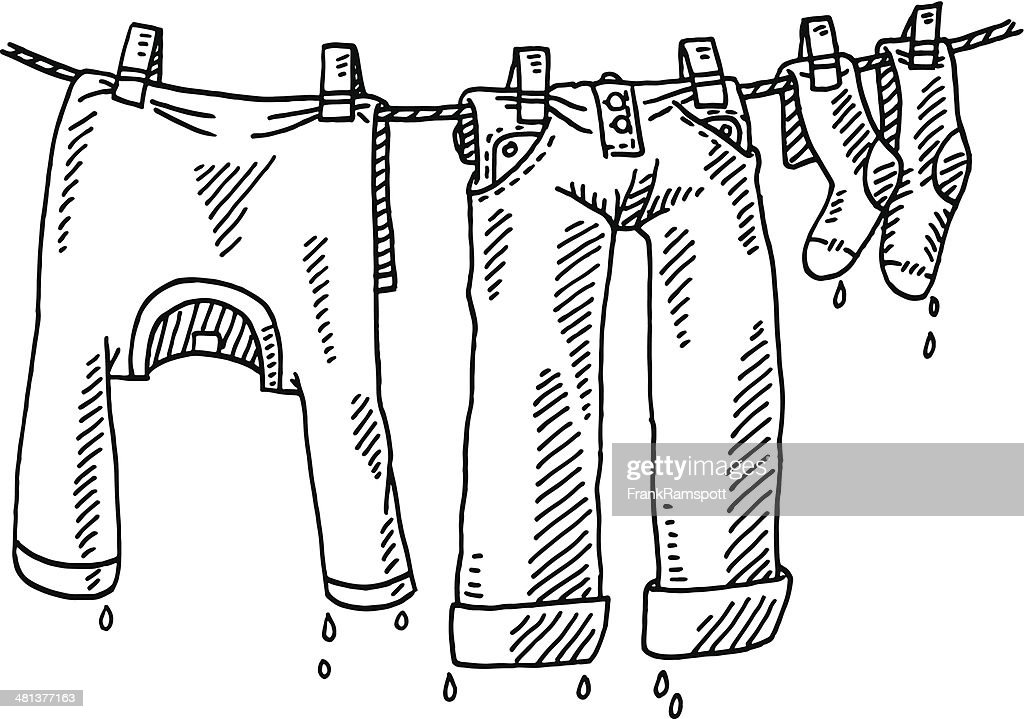 Laundry Line Clothing Drawing Vector Art Getty Images