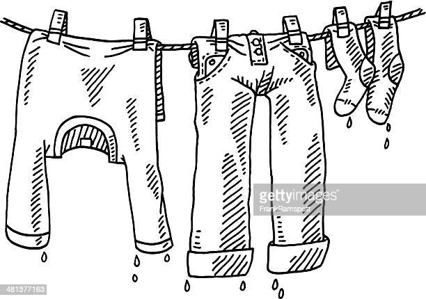 Laundry Line Clothing Drawing