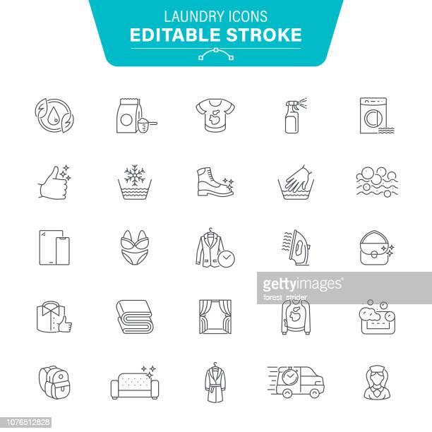 wäsche-linie-icons - schuhmacher stock-grafiken, -clipart, -cartoons und -symbole